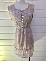 ISHKA Boho Sleeveless Brown & White Longline Tunic Cotton Top - Size Large