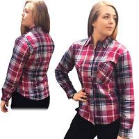 New Womens Bikers Gear Kevlar® Lined Motorcycle Flannel Lumberjack Shirt PINK