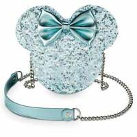 Disney Parks Arendelle Aqua Sequined Minnie Mouse Loungefly Crossbody Purse