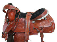 WESTERN SADDLE 16 17 TRAIL HORSE ROPING RANCH TOOLED LEATHER COWBOY USED TACK