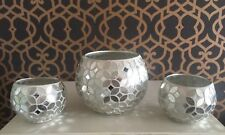 Silver Mosaic Mirrored Sparkle Round Vase With 2 Matching Tealight Holders