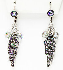 KIRKS FOLLY PETITE BEADED FLY HOME ANGEL WING LEVERBACK EARRINGS silvertone