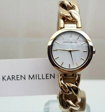 KAREN MILLEN Ladies Watch Chain Bracelet Gold pl. RRP £189 NEW IDEAL GIFT! (KM13
