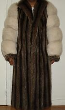 """Stunning 49"""" Long White Fox & Raccoon Fur Coat Size 6-8 EXCELL COND Free Shippin"""
