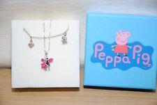 Girls Sterling Silver Peppa Pig Charm Bracelet & Necklace