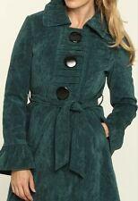 Womens COCO & TASHI Tie Waist Green Peacoat Jacket Trench Coat size Large NWT