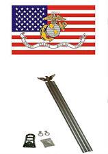 3x5 U.S. USA / EGA USMC Flag w/ 6' Ft Aluminum Flagpole Flag Pole kit