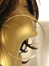 EXTRA LARGE 5 INCH HOOP EARRINGS SIMPLE THIN HOOPS CLASSIC SILVER OR GOLD TONE