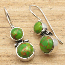 Hinge Earrings Silver Plated Jewelry 2 Gemset Green Copper Turquoise Art