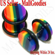 0555 Fake Cheaters Illusion Faux Ear Plugs 00G Rainbow Design Color Pattern 16G
