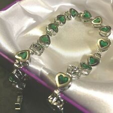 """GB Green inset emerald hearts silver (white gold gf) 7.2""""/18.5cm bracelet BOXED"""