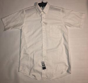 Van Huesen Wrinkle Free Stain Shield Short Sleeve White Dress Shirt NEW Men's