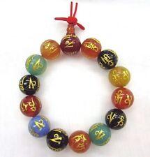 "Om mani padme hum Carved Wrist Mala 14mm Agate bead 7"" stretch bracelet"