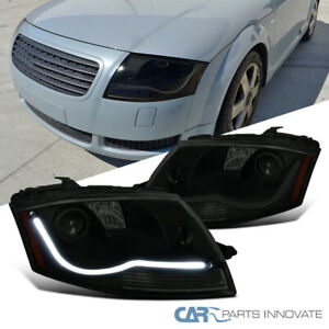 For 99-06 Audi TT LED DRL Black Projector Headlights Smoke Head Lamps Left+Right