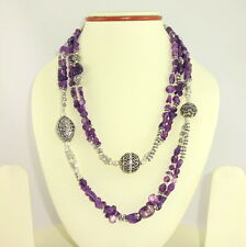 Necklace natural amethyst gemstone long pattern handmade beaded jewelry 95 grams