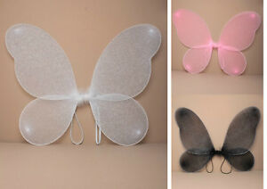 LARGE ADULT / CHILDRENS NET FAIRY WINGS WITH SILVER GLITTER FANCY DRESS UP