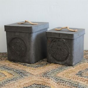 Dishwasher Tablets Storage Container Box Vintage Tin Metal  Bird Seed Food