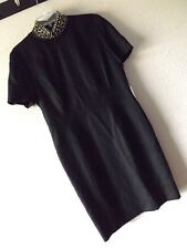 NWT CHETTA B BLACK LINEN DRESS 8 Mock High Neck SILVERPLATED TRIM Saks CAREER S