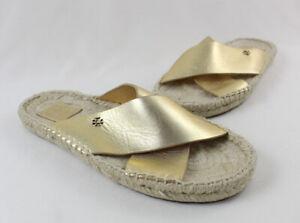 Tory Burch Women's Metallic Gold Leather Jute Trim Sandal Shoe Size 8