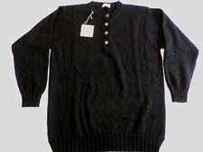 "William Lockie 4 ply cashmere button crew neck sweater jumper top 36"" Black uk12"