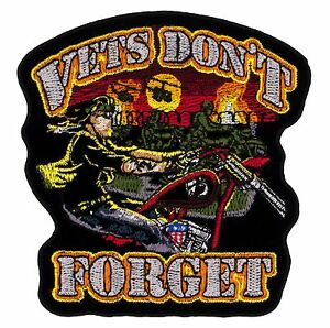 """Vets Don't Forget Patch (713) 4"""" x 4"""" Embroidered Patch 66774"""