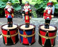 3 Kurt Adler NUTCRACKER SOLDIERS DRUMS CHRISTMAS hinged TRINKET BOXES lot 3