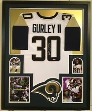 FRAMED TODD GURLEY AUTOGRAPHED SIGNED LOS ANGELES RAMS JERSEY PSA COA ROOKIE