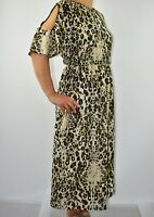 M&S Per Una Animal Print Dress Beige Maxi Chiffon Summer Cold Shoulder Size 8 AF