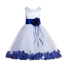 Wedding Pageant Floral Rose Petals White Flower Girl Dress Graduation Tulle #007