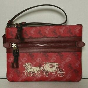 NWT Coach F84635 Gallery Pouch with Horse and Carriage Print Bright Red Cherry