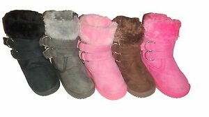 New Infant Toddler Girls Pink Black Gray Dress Buckles Winter Boots Shoes sz 1-6