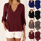 Fashion Women's Ladies Casual Chiffon Blouse Tops Long Sleeve Shirt S-XXXXL