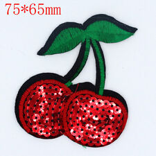 Cherry Sequin Design Embroidered Cloth Iron On Patches Sewing Motif Applique NEW