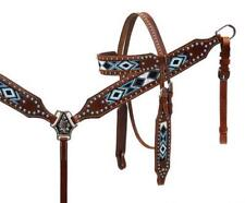 Showman TURQUOISE Beaded Inlay Headstall and Breast Collar Set! NEW HORSE TACK!