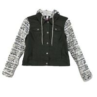 NOBO Olive Green Hooded Denim Jacket Aztec Fleece Arms Hood Womens XL Stretch