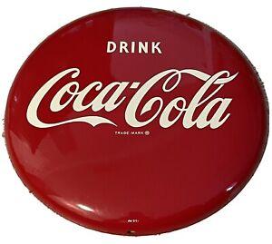 "Vintage 1991 Drink Coca-Cola Company 12"" Red Metal Coke Button Sign"
