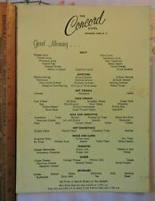 1960s? Concord Hotel Catskills New York Kiamesha Lake NY Breakfast Menu Vintage