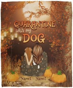 Personalized Quarantine With My Dog Fleece Blanket – Halloween Dog Lover Blanket