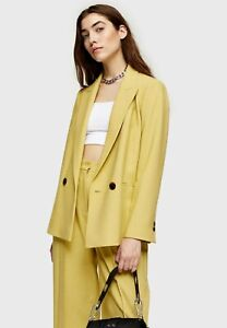 New TOPSHOP Double Breasted Blazer Jacket In Lime/Yellow Sizes 4-14 RRP £59