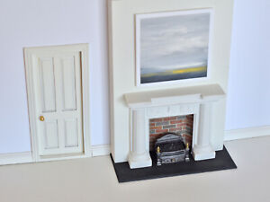 1/12 Scale Dolls House Complete Fireplace / Chimney Flue Fire / Wall / Painting