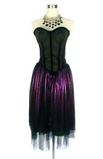 REVIEW Dress - Strapless Corset Black Purple Tulle Polka Dot Metallic Formal 10