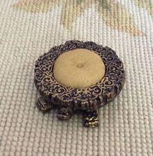 Pat Tyler Dollhouse Miniature Leather Turtle Foot Stool Ottoman Seat Tan