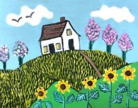 Original Painting Country House In Floral landscape, Naive/Folk Art sunflowers