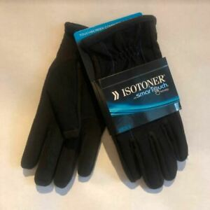 Isotoner Smartouch Touchscreen Men's Gloves, Black With Blue Stitching- MSRP $55