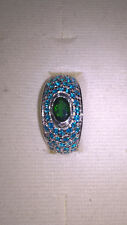 Chrome-Diopside with Blue Cubic Zirconia Ring - Rhodium Plated