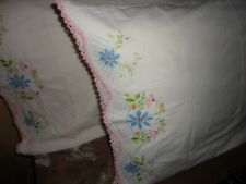 KEECO CROCHETED PINK BLUE OFF WHITE FLORAL (PAIR) STANDARD PILLOWCASES 20 X 30