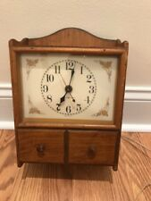Vintage 1959 General Electric Wood Wall Clock with Drawer Self Starting