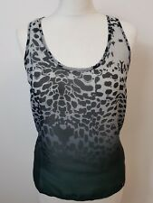 Women's Green & Black Animal Print Crew Neck Sheer Top By Guess Size 12