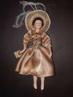 "Vintage Porcelain Dollhouse Poseable Lady Doll Gold Dress 6"""