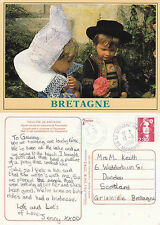 1990 CHILDREN IN LOCAL COSTUME BRITTANY FRANCE COLOUR POSTCARD